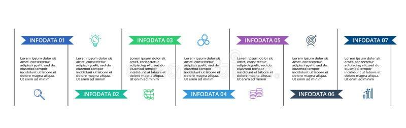 Infographic-Entwurfsvektor- und -marketing-Ikonen f?r Diagramm, Diagramm, Darstellung und rundes Diagramm Konzept mit 7 Wahlen lizenzfreie abbildung