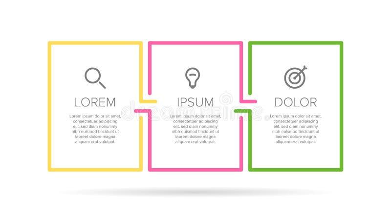 Infographic etikettmall för vektor med symboler 3 alternativ eller moment Infographics för affärsidé kan användas för royaltyfri illustrationer