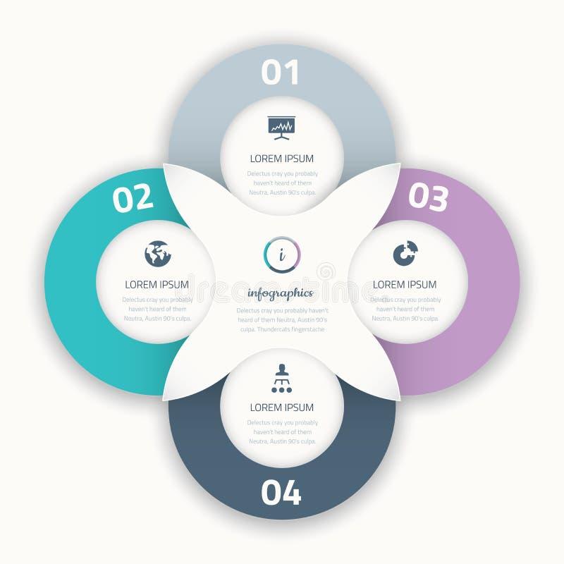 Infographic för affärsalternativ för cirkel härliga fyra beståndsdel vektor illustrationer