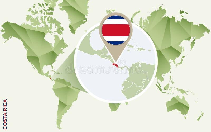 Infographic för Costa Rica, detaljerad översikt av Costa Rica med flaggan stock illustrationer