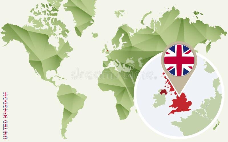 Infographic för Förenade kungariket, detaljerad översikt av UK med flaggan vektor illustrationer