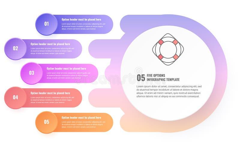 Infographic för fem moment mall royaltyfri illustrationer