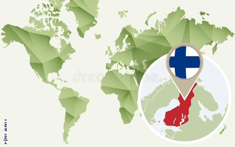 Infographic för Finland, detaljerad översikt av Finland med flaggan royaltyfri illustrationer