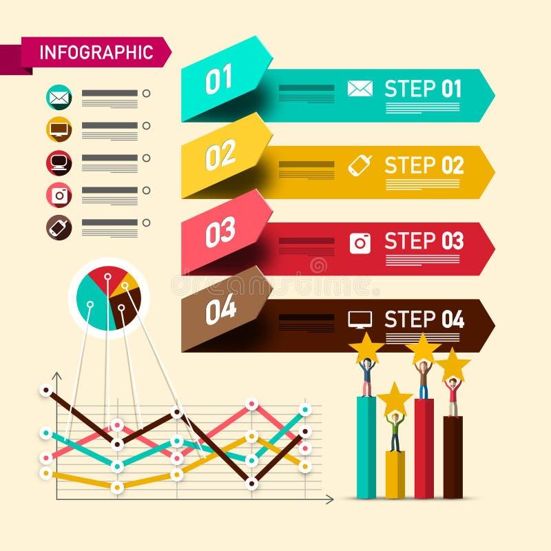 Infographic för fyra moment orientering med designbeståndsdelar och klassasymboler Pappers- Infographics med affärsfolk och grafe vektor illustrationer