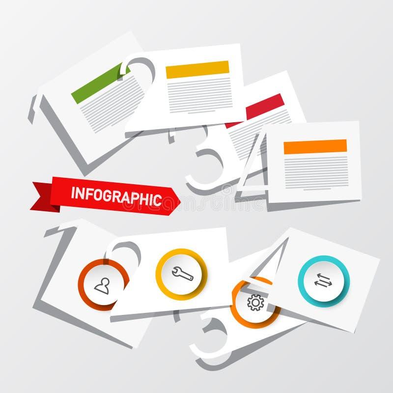 Infographic för fyra moment orientering med pappers- klippta nummer, symboler och prövkopiatexter Vektorinfographicsdesign stock illustrationer