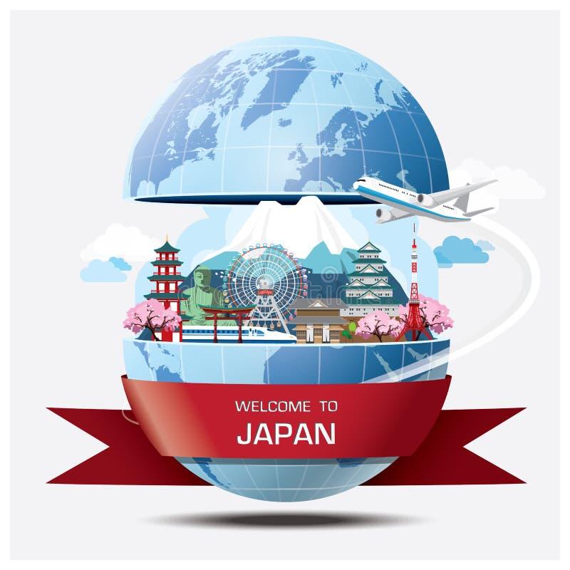 Infographic för lopp och för resa för Japan gränsmärke global bakgrund stock illustrationer