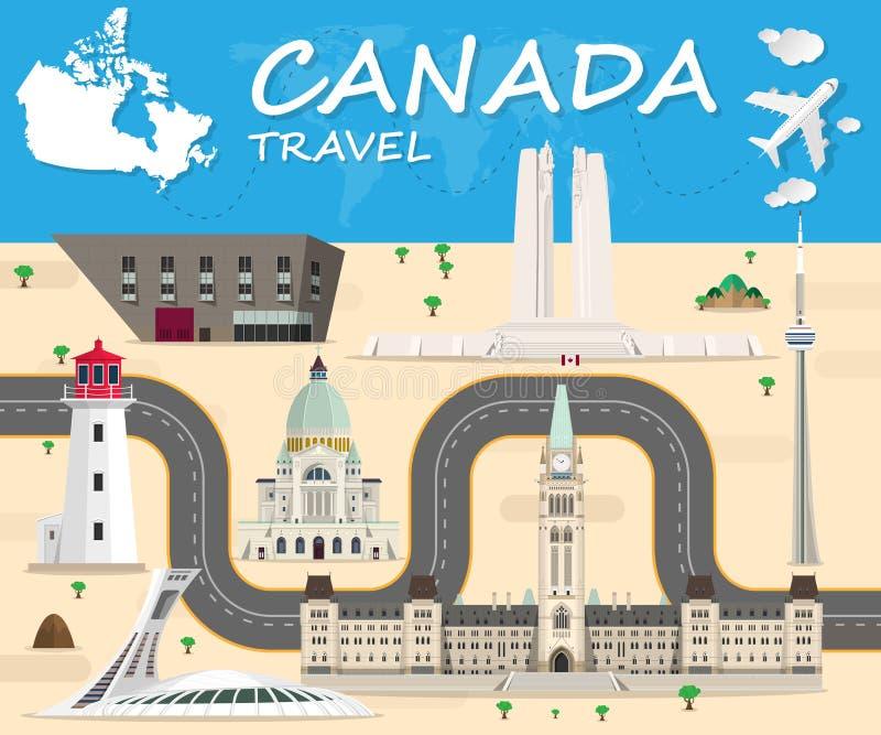 Infographic för lopp och för resa för Kanada gränsmärke global vektor vektor illustrationer