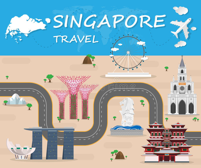 Infographic för lopp och för resa för Singapore gränsmärke global vektor vektor illustrationer