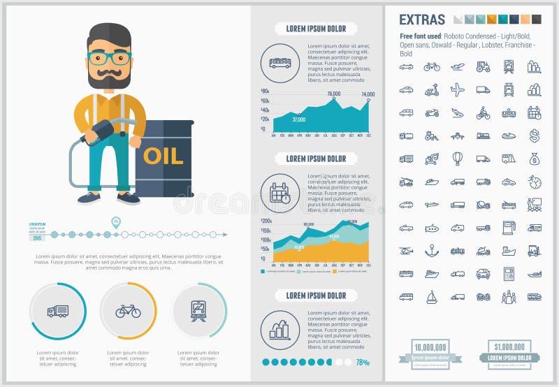 Infographic för trans.lägenhetdesign mall vektor illustrationer