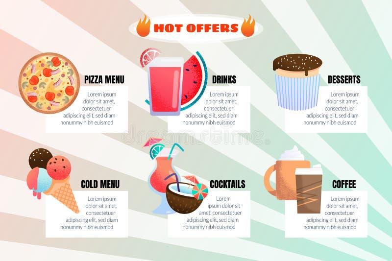 Infographic för varm erbjudanderestaurangmeny plant baner royaltyfri illustrationer
