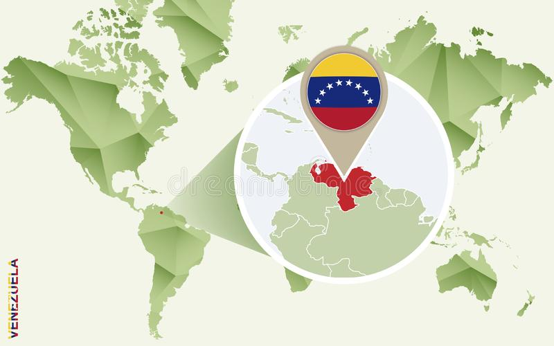 Infographic für Venezuela, ausführliche Karte von Venezuela mit Flagge lizenzfreie abbildung