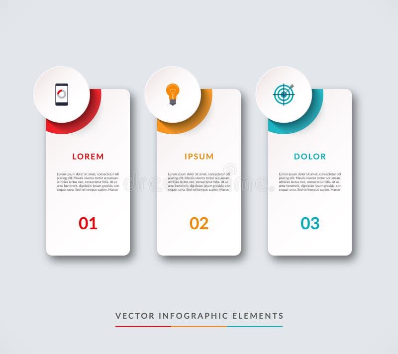 Infographic-Fahne mit 3 Kreisen und Vorsprüngen lizenzfreie abbildung