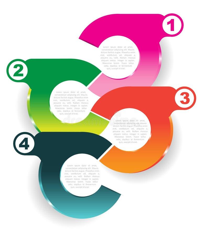 Infographic farbiger Hintergrund des abstrakten Vektors mit vier Schritten lizenzfreie abbildung