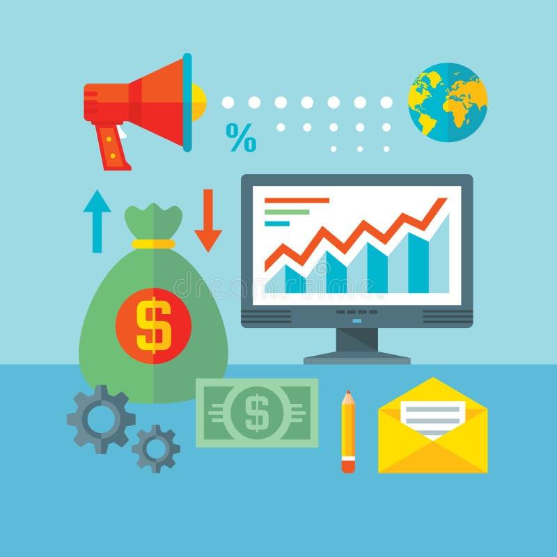 Infographic-Finanzkonzept-Vektorillustration in der flachen Entwurfsart Netz-Analytik-Informationen und Entwicklungs-Website-Stat lizenzfreie abbildung