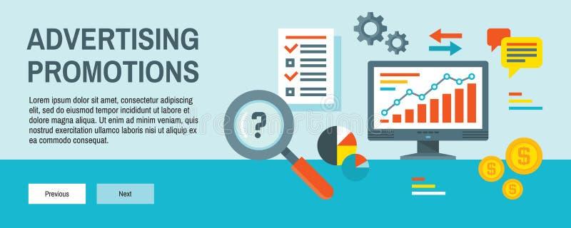 Infographic-Finanzkonzept-Vektorillustration in der flachen Entwurfsart Werbung der horizontalen Netzfahne der Förderung Computer stock abbildung