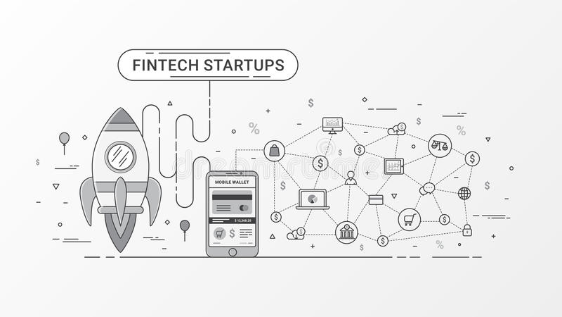 infographic Fintech的起动 财政技术和新的商业投资有blockchain技术 库存例证