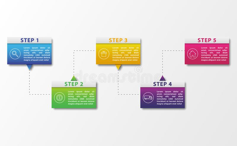 Infographic five step cycle process. Steps wise information infographic process cycle chart presentation. Vector graphic artwork design element vector illustration