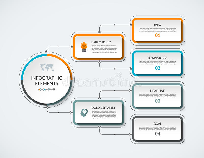 Infographic flödesdiagram med 4 alternativ royaltyfri illustrationer