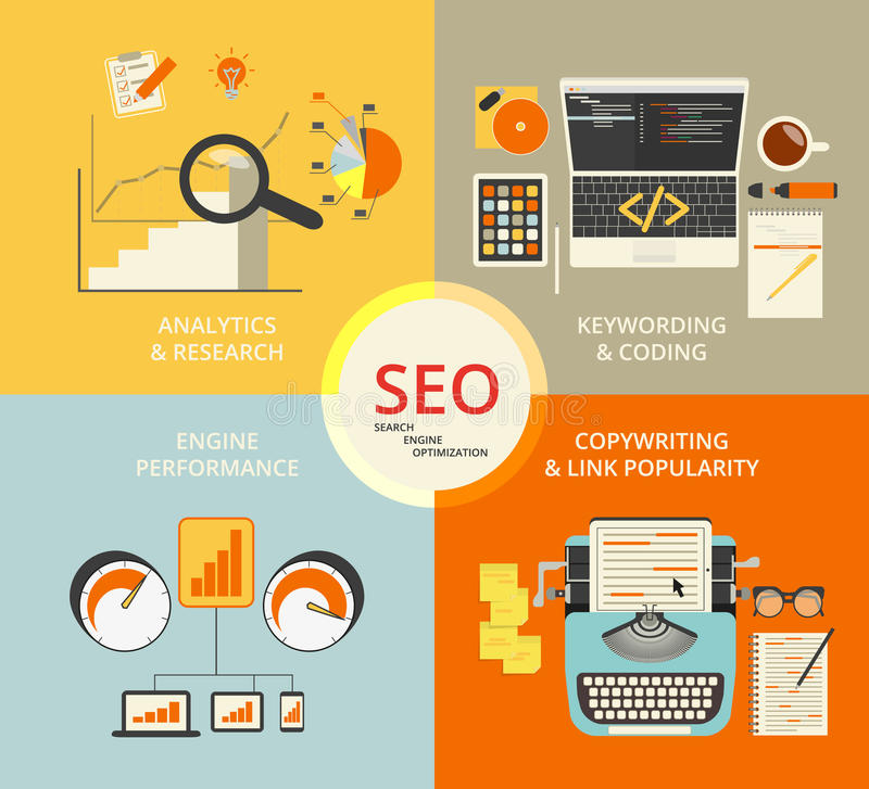 Infographic flat concept illustration of SEO. 4 items described royalty free illustration