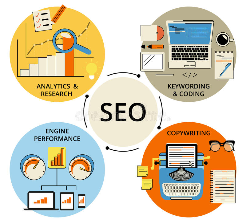 Infographic flat concept illustration of SEO. 4 items described. Flat contour modern style royalty free illustration
