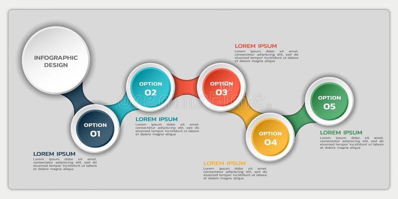 Infographic flowchart with five options. process infographic design with round elements and text stock illustration