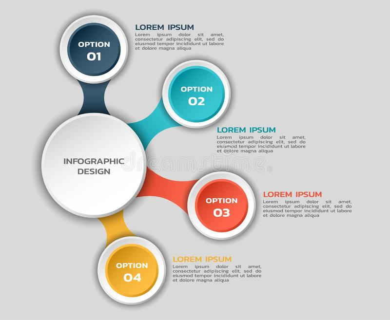 Infographic flowchart with four options. color infographic design with round elements and text royalty free illustration