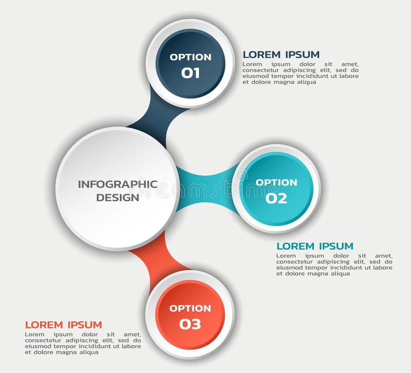 Infographic flowchart template with round elements and text. color business infographic stock illustration