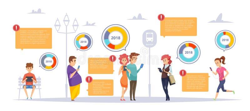 Infographic folkgrejer Manliga kvinnliga personer som pratar problem för socialization för smartphoneminnestavlabärbar dator fakt royaltyfri illustrationer