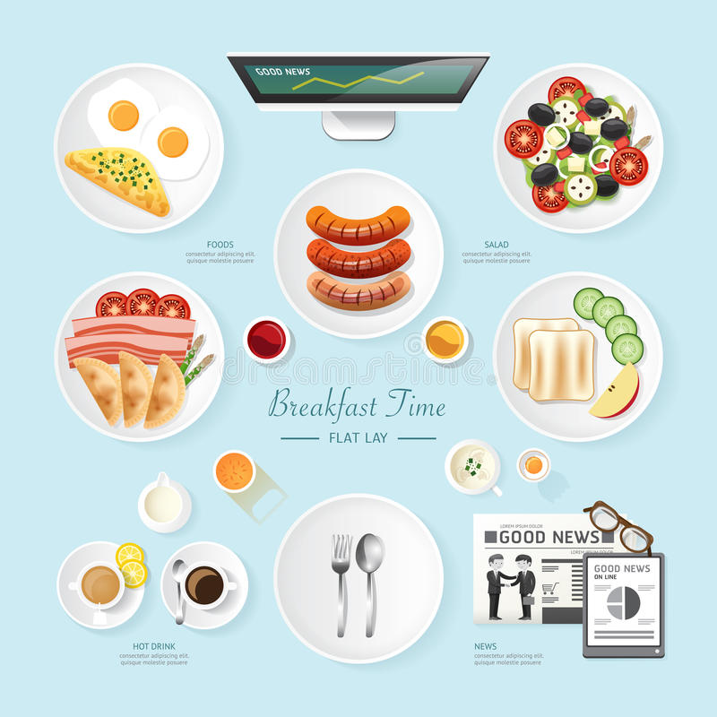 Infographic food business breakfast flat lay idea. Salad, meal, toast, news Vector illustration . can be used for layout, advertising and web design vector illustration