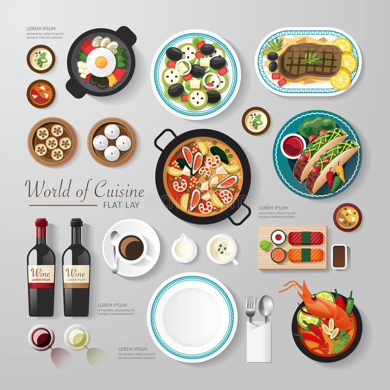 Infographic food business flat lay idea. Vector illustration hipster concept. can be used for layout, advertising and web design stock illustration