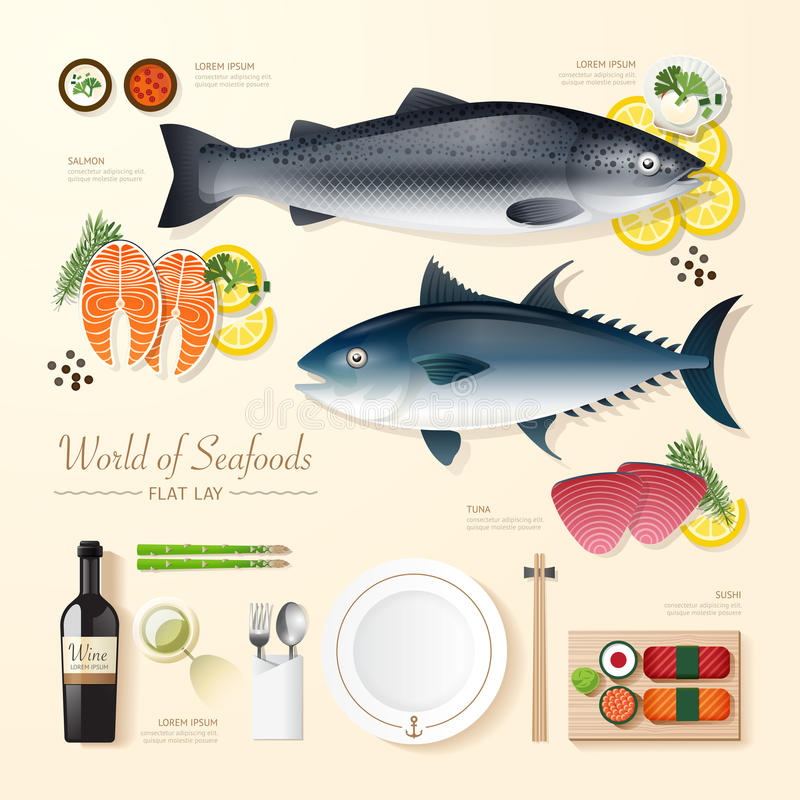 Infographic food business seafood flat lay idea. Fish,tuna,salmon,sushi Vector illustration . can be used for layout, advertising and web design stock illustration