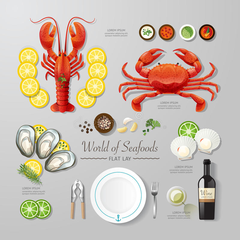 Infographic food business seafood flat lay idea. Vector vector illustration
