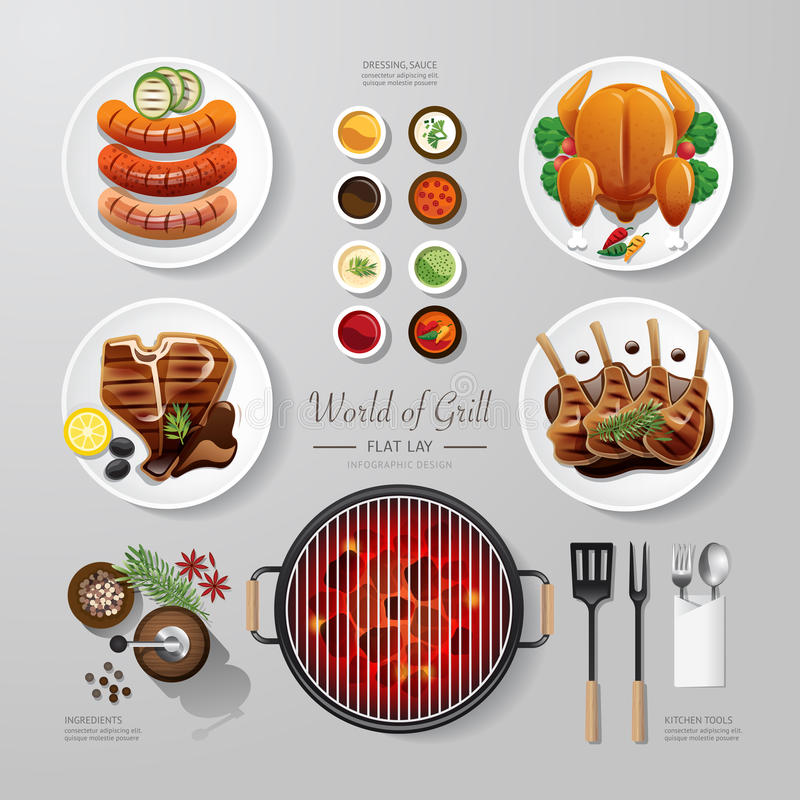 Infographic food grill, bbq, roast, steak flat lay idea. Vector vector illustration