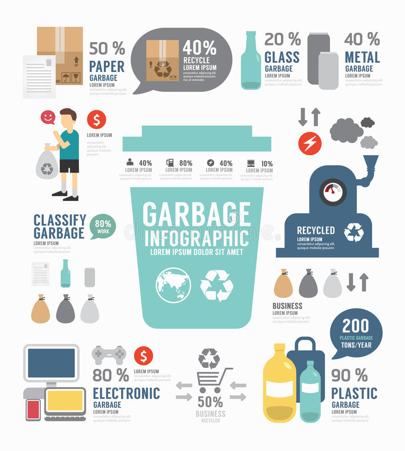 Infographic garbage annual report template design . concept. vector illustration