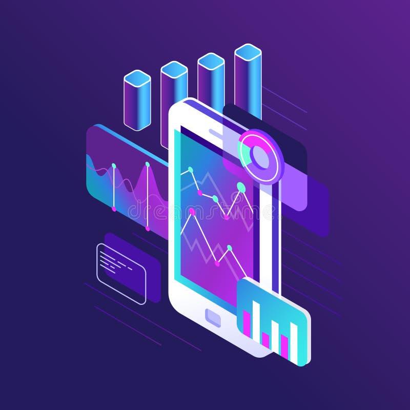 Infographic gegevensonderzoek, tendensengrafiek en bedrijfsstrategiegrafieken op het smartphonescherm 3d isometrisch van de tende royalty-vrije illustratie