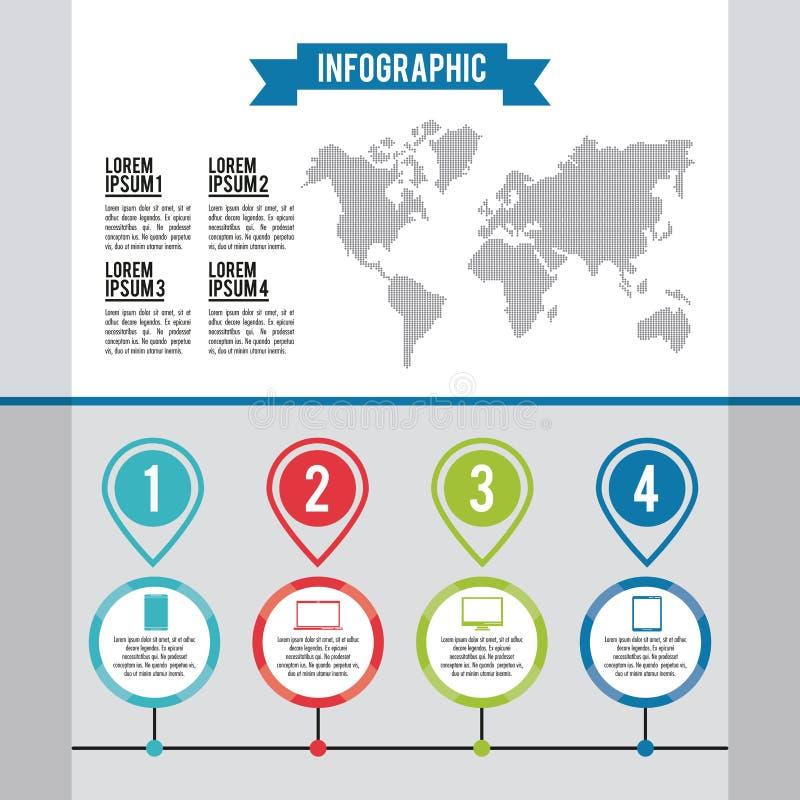 Infographic gehele wereld vector illustratie