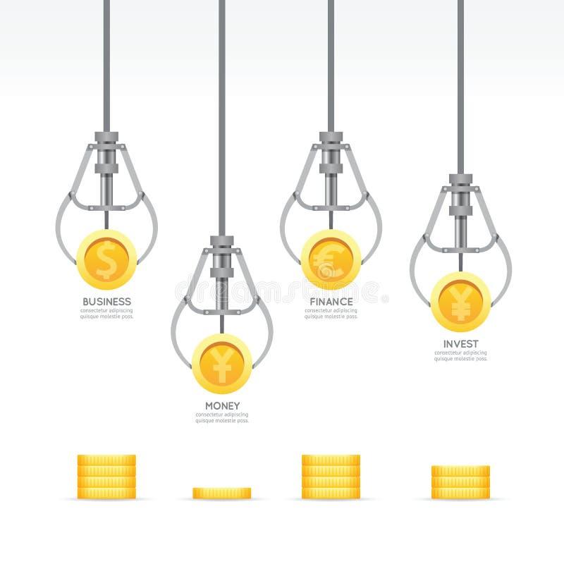 Infographic-Geschäfts-Greiferspiel mit Münzenschablonendesign Geld lizenzfreie abbildung
