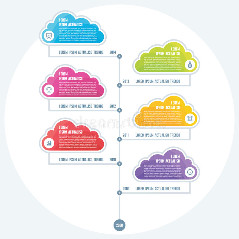 Infographic-Geschäfts-Konzept der Zeitachse mit colo lizenzfreie abbildung
