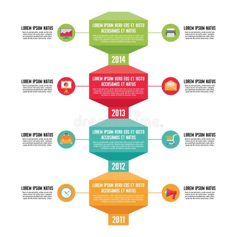 Infographic-Geschäfts-Konzept - Zeitachse-Vertikale - Illustration in der flachen Design-Art vektor abbildung
