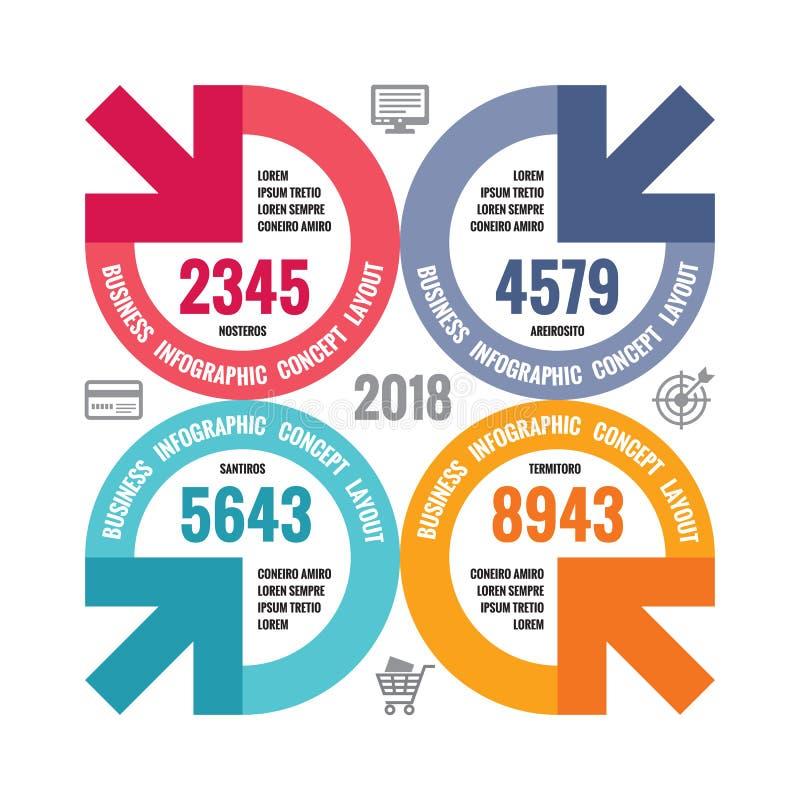 Infographic-Geschäfts-Konzeptillustration Kreative Fahne Abstrakter Plan mit Kreis, Pfeile, Ikonen Vier Schneeflocken auf weißem  stock abbildung