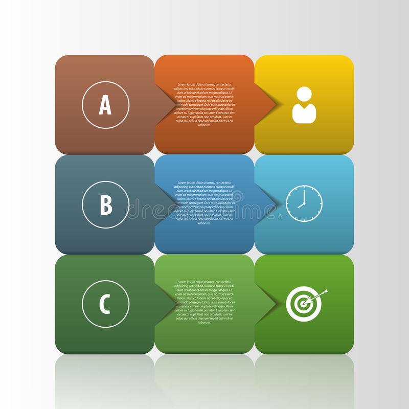 Infographic-Geschäfts-Schablone Quadratart Vektor stock abbildung
