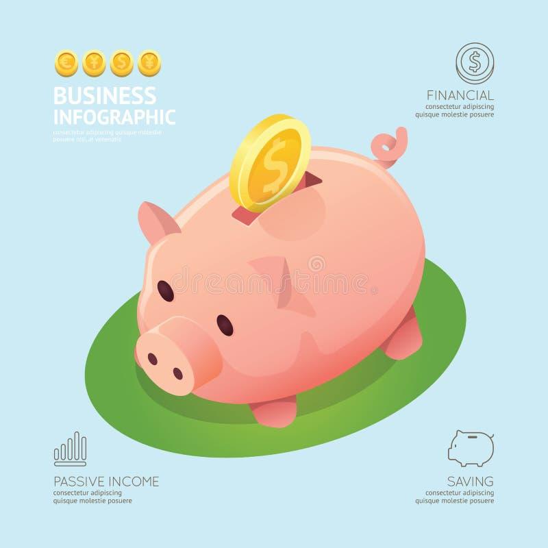 Infographic-Geschäfts-Währungsgeld prägt Sparschweinform templ stock abbildung