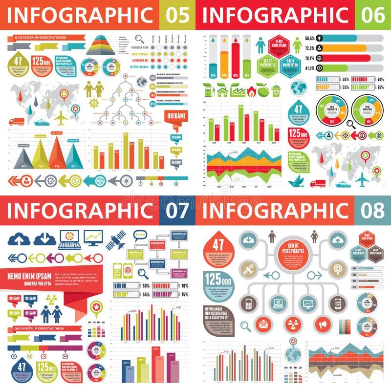 Infographic-Geschäftsgestaltungselemente - Vektorillustration Infograph-Schablonensammlung Kreativer Grafiksatz stock abbildung