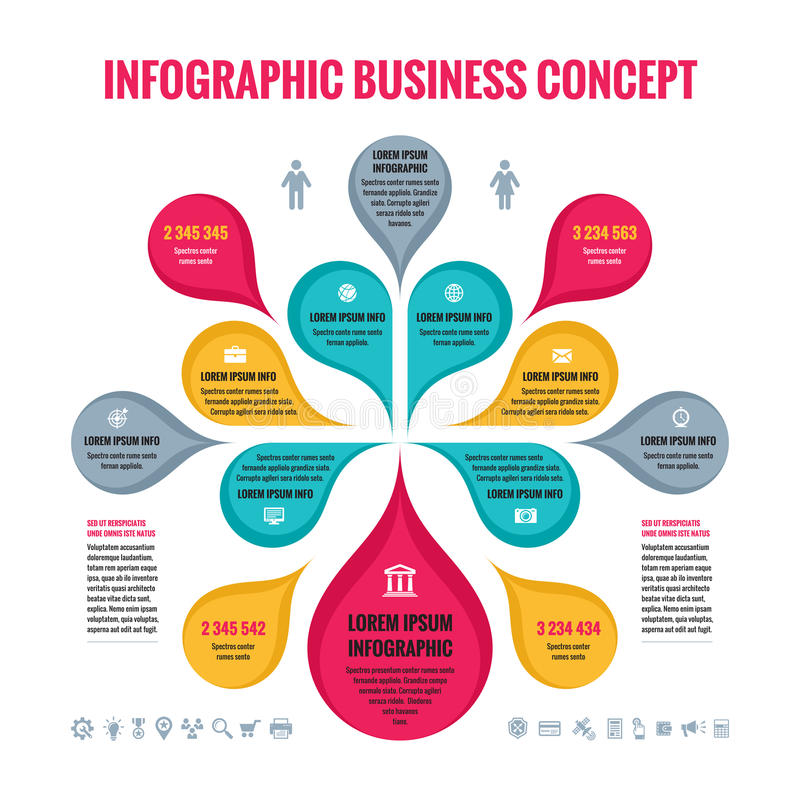 Infographic-Geschäftskonzept - abstrakter Hintergrund - kreative Vektor Illustration mit den bunten Blumenblättern und den Ikonen lizenzfreie abbildung