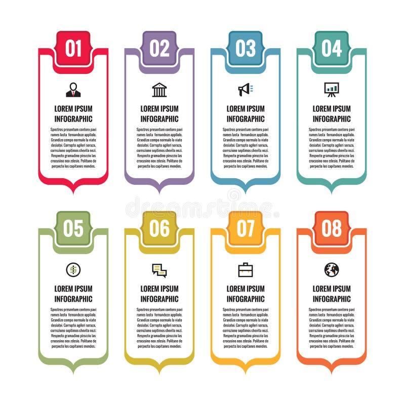 Infographic-Geschäftskonzept - vertikale Vektorfahnen mit Ikonen für Darstellung, Broschüre, Website und andere Projektplanung lizenzfreie abbildung