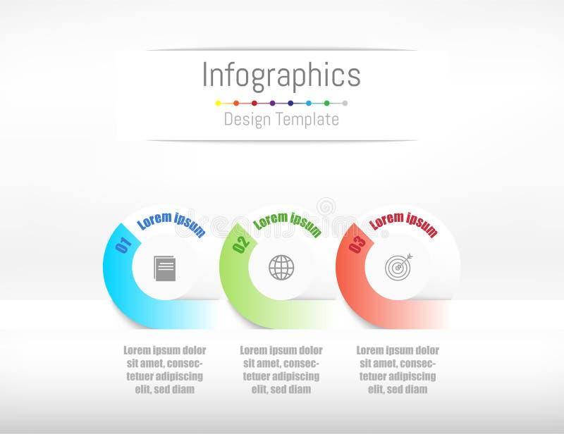 Infographic-Gestaltungselemente für Ihre kommerziellen Daten mit 3 Wahlen stock abbildung