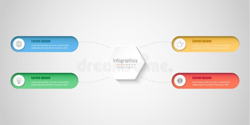 Infographic-Gestaltungselemente für Ihre kommerziellen Daten mit 4 Wahlen vektor abbildung