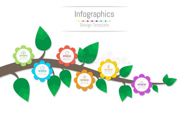 Infographic-Gestaltungselemente für Ihre kommerziellen Daten mit 6 Wahlen, Teile, Schritte, Zeitachsen oder Prozesse, Blumen und  vektor abbildung