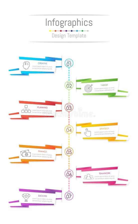 Infographic-Gestaltungselemente für Ihre kommerziellen Daten mit 7 Wahlen, Teilen, Schritten, Zeitachsen oder Prozessen, Papierfa vektor abbildung