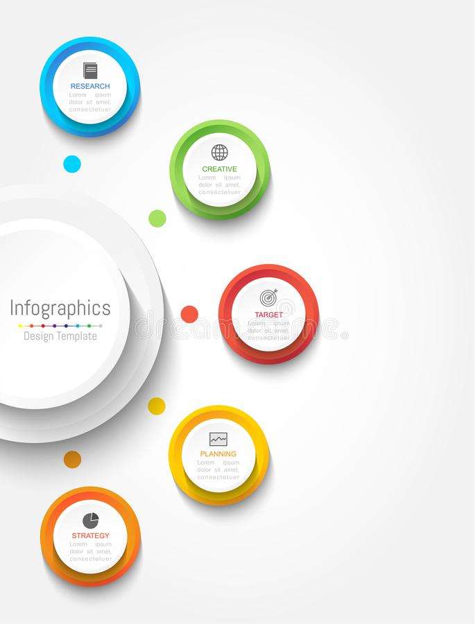 Infographic-Gestaltungselemente für Ihre kommerziellen Daten mit 5 Wahlen, Teilen, Schritten, Zeitachsen oder Prozessen Rundes Ko stock abbildung